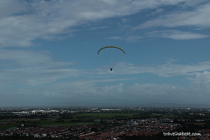 Paragliding and Carmona city view.