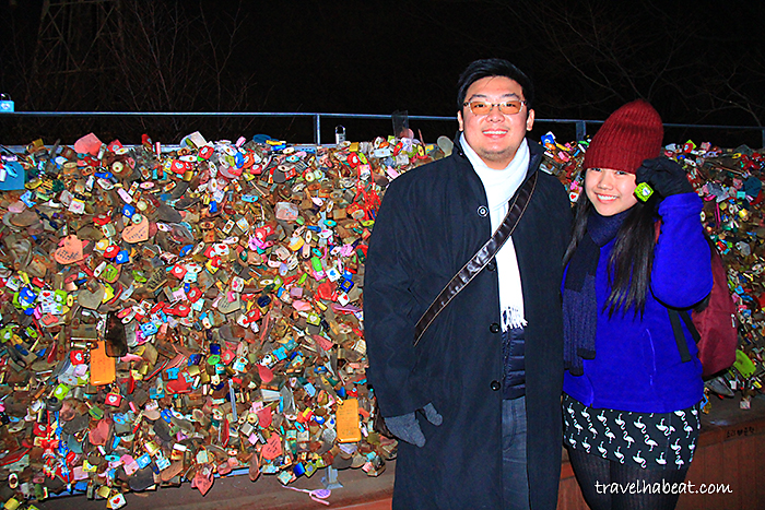 Our couple friend joining the Love Lock tradition.