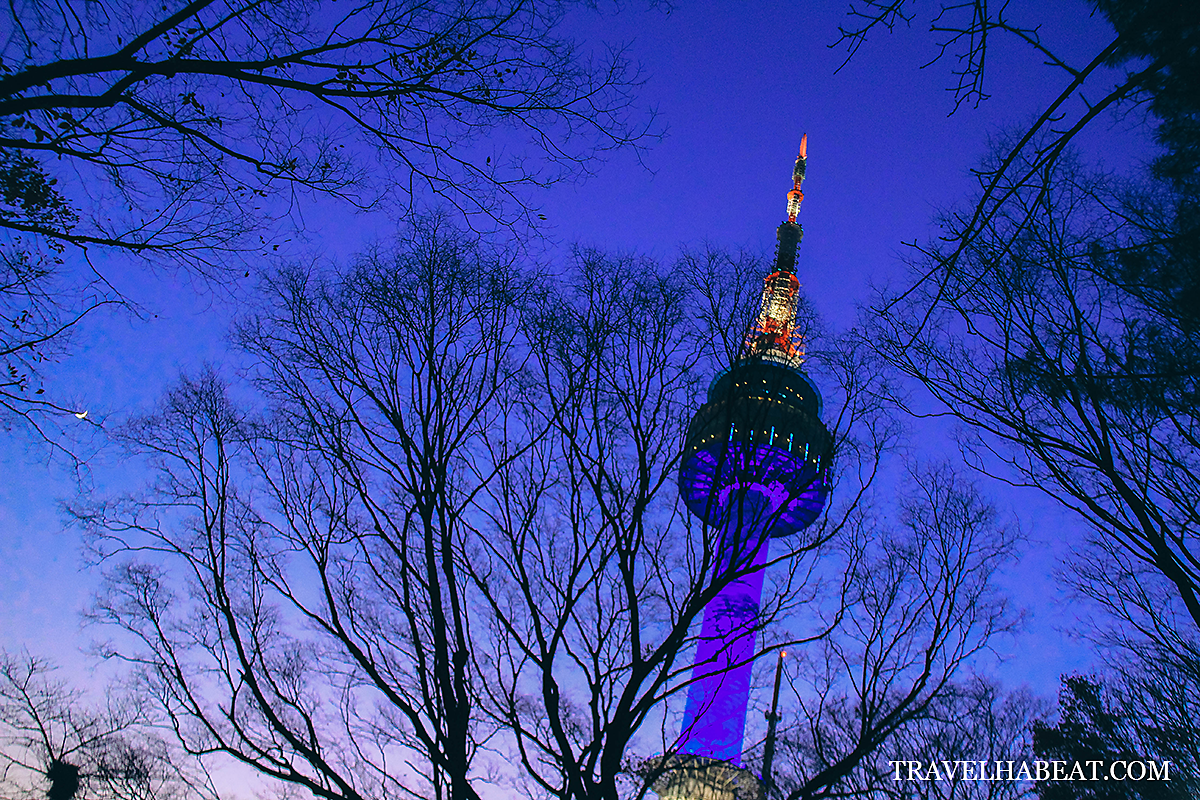 N Seoul Tower at night.