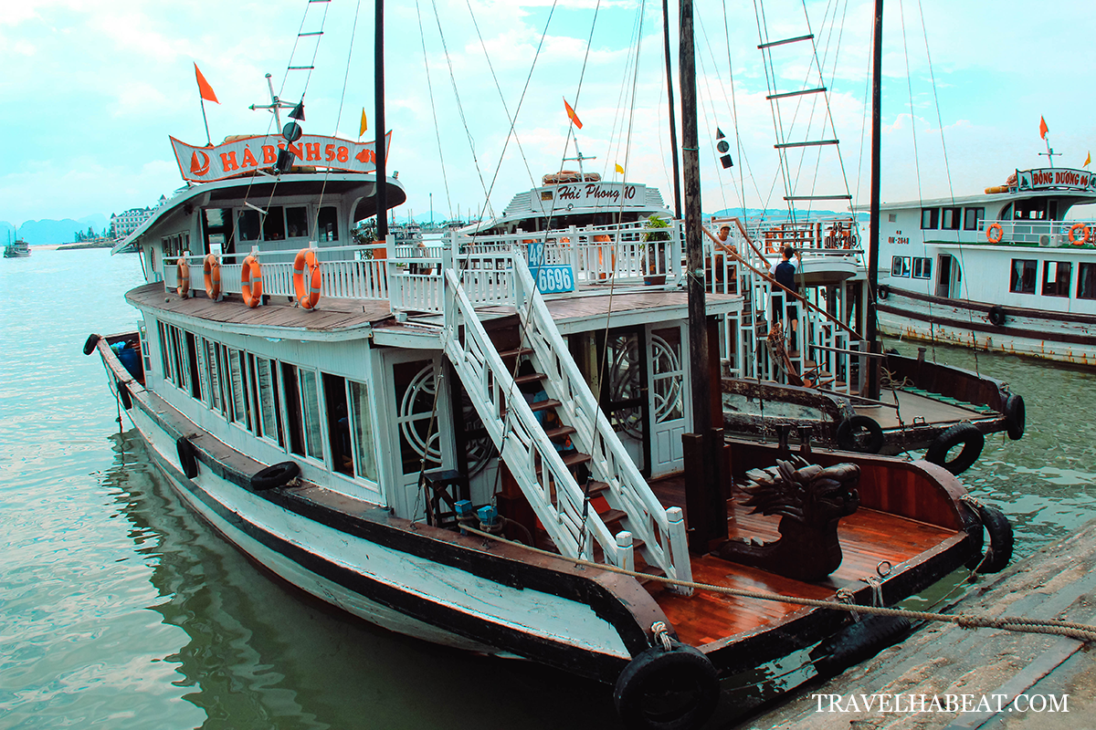 Traditional wooden boats used in Ha Long Bay cruise.