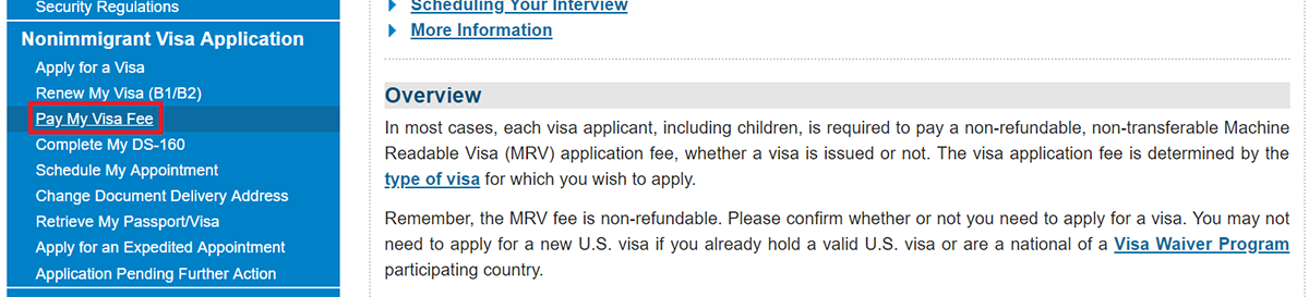 Pay US Visa Fee