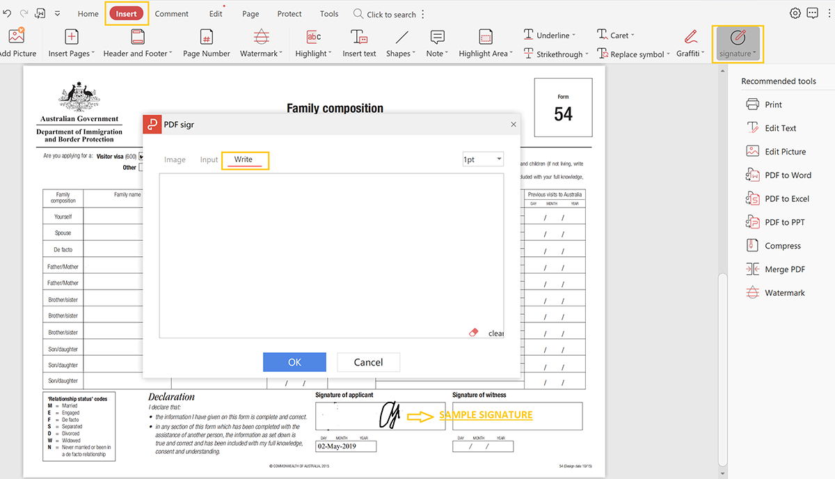Affix electronic signature using Adobe Acrobat Reader