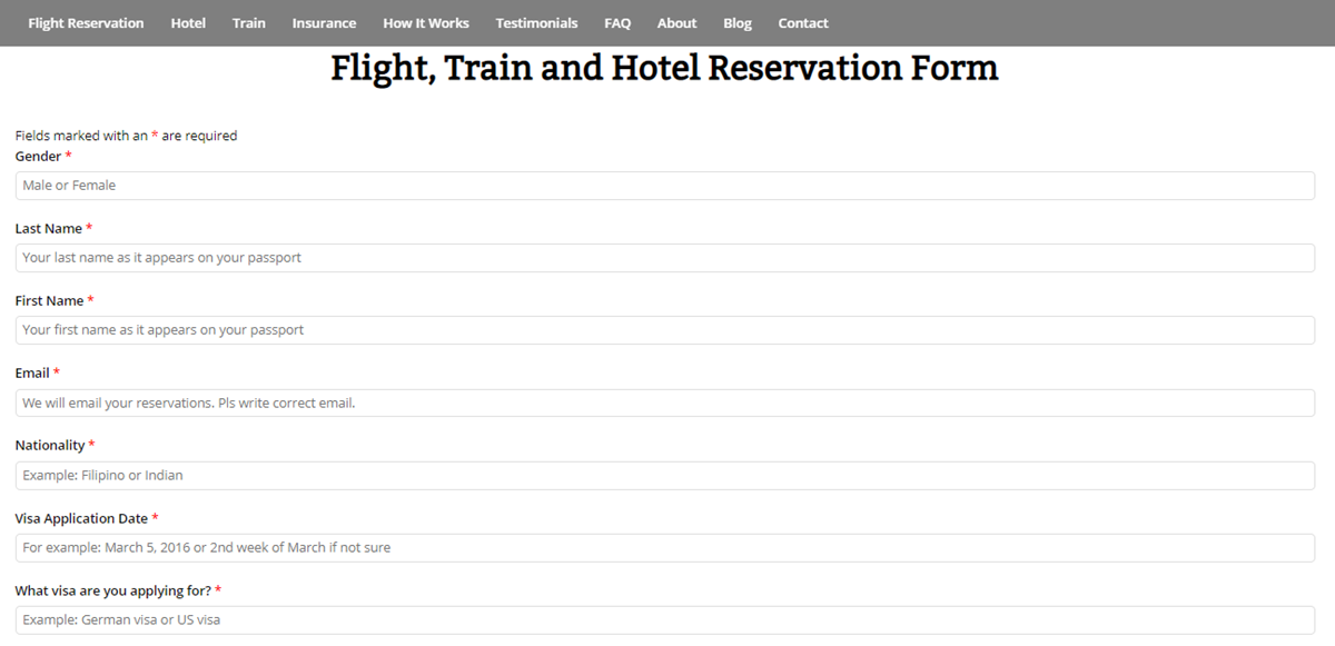 Flight Reservation Form from Travel Visa Services