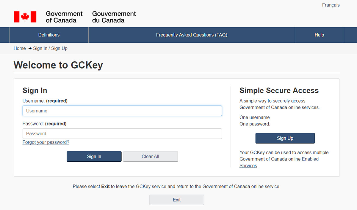 Create GCKey or CIC Account